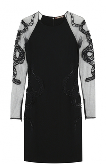 Платье-футляр с прозрачными рукавами Roberto Cavalli