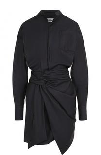 Шерстяное платье-рубашка с драпировкой Isabel Marant Etoile