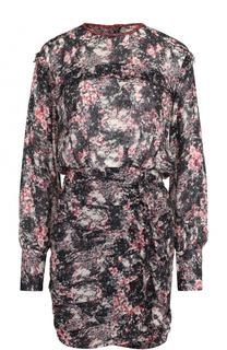Приталенное мини-платье с поясом и принтом Isabel Marant Etoile