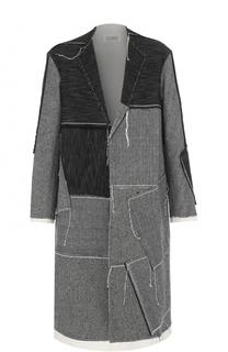Однобортное пальто из смеси шерсти и кашемира с хлопком Maison Margiela