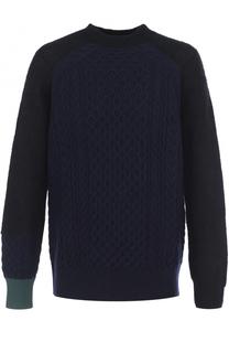 Шерстяной свитер с контрастной вставкой Sacai