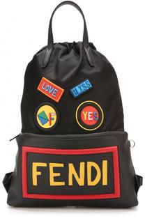 Текстильный рюкзак с контрастной отделкой Fendi