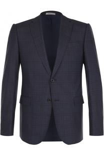 Шерстяной однобортный пиджак в клетку Armani Collezioni