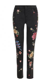 Укороченные джинсы с контрастной вышивкой Alice + Olivia