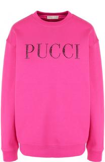 Хлопковый свитшот с логотипом бренда Emilio Pucci