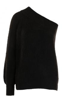Пуловер свободного кроя с открытым плечом Nude