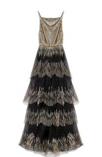 Многоярусное платье-макси с пайетками Oscar de la Renta