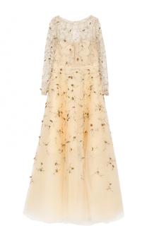 Шелковое платье-макси с вышивкой Oscar de la Renta