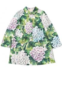 Однобортное пальто из хлопка и шелка с цветочным принтом Dolce & Gabbana