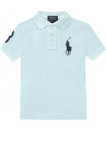 Хлопковое поло с логотипом бренда и нашивкой Polo Ralph Lauren