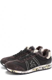 Комбинированные кроссовки на шнуровке с декоративной отделкой Premiata