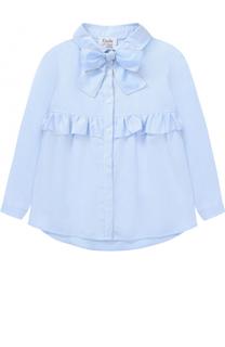 Хлопковая блуза с бантом и оборкой Aletta