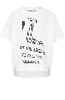 Хлопковая футболка с круглым вырезом и надписью Y-3