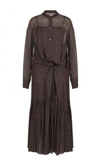 Приталенное платье-миди с оборками Isabel Marant Etoile