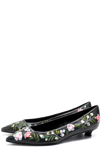 Кожаные туфли с цветочной вышивкой на каблуке kitten heel Erdem