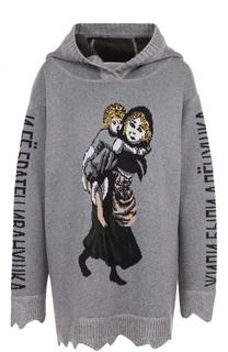 Шерстяной пуловер с принтом и капюшоном Tak.Ori