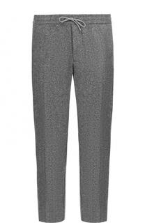 Шерстяные брюки прямого кроя с поясом на кулиске BOSS