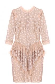 Кружевное мини-платье с оборками Roberto Cavalli