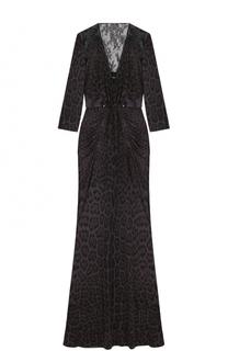 Приталенное платье-макси с V-образным вырезом Roberto Cavalli