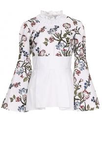 Приталенная хлопковая блуза с принтом Erdem