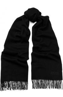 Шерстяной шарф с бахромой HUGO