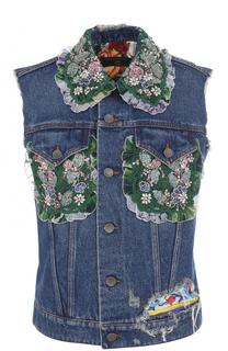 Джинсовый жилет с контрастной отделкой Dolce & Gabbana
