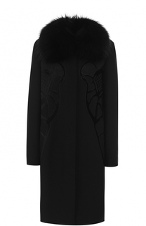 Пальто прямого кроя с отделкой из меха лисы Elie Saab