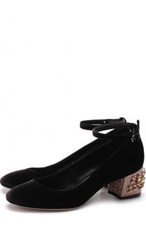 Бархатные туфли на декорированном каблуке Le Silla
