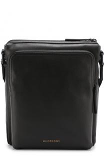 Кожаная сумка-планшет с внешним карманом на молнии Burberry