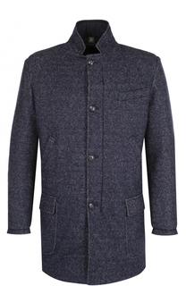 Однобортное пальто на молнии из смеси шерсти и хлопка Capobianco