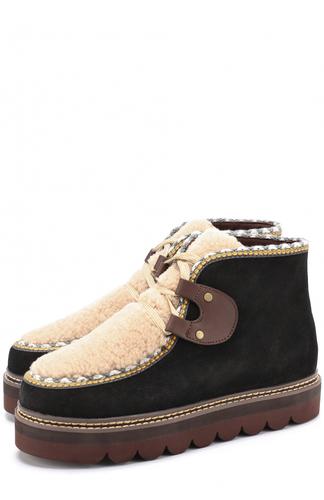 Замшевые ботинки с отделкой из овчины See by Chloé
