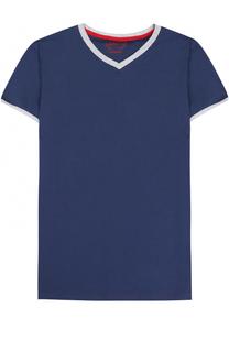 Хлопковая футболка с V-образным вырезом Sanetta