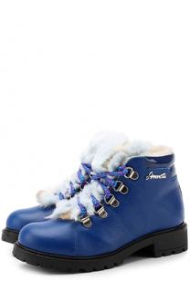 Ботинки из лаковой кожи с контрастной шнуровкой Simonetta