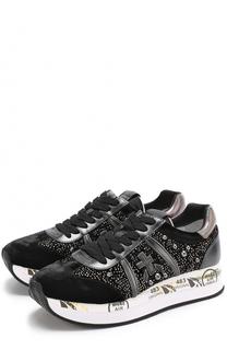 Бархатные кроссовки Conny с заклепками Premiata