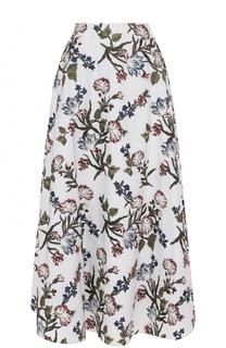 Хлопковая юбка-миди с принтом Erdem