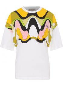 Хлопковая футболка с контрастным принтом Emilio Pucci