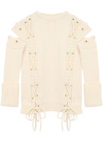 Шерстяной пуловер с разрезами на рукавах и шнуровкой Alexander McQueen
