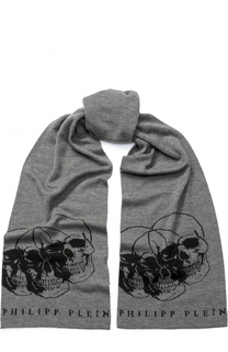 Шерстяной шарф с принтом Philipp Plein