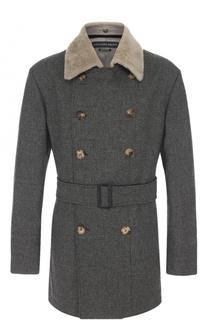 Шерстяное двубортное пальто с меховой отделкой воротника Alexander McQueen