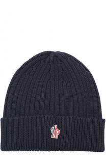 Шерстяная шапка фактурной вязки Moncler