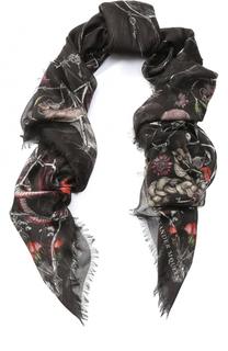 Платок из смеси шелка и вискозы с принтом Alexander McQueen