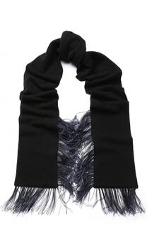 Шерстяной вязаный шарф с отделкой из пера страуса No. 21