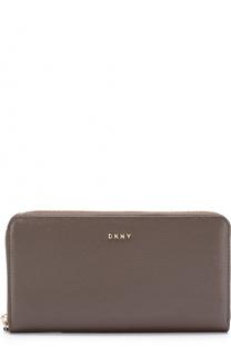 Кожаный кошелек на молнии с логотипом бренда DKNY
