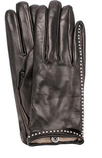 Кожаные перчатки с металлической отделкой Sermoneta Gloves