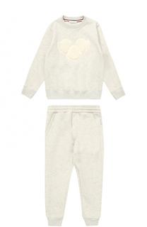 Спортивный костюм из хлопка с аппликацией Moncler Enfant