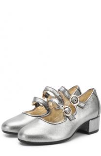 Туфли с металлизированной отделкой на ремешках Monnalisa
