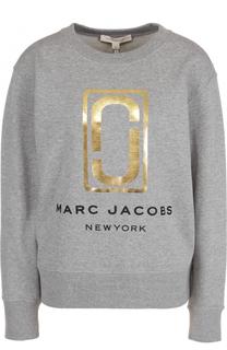 Хлопковый свитшот с металлизированным логотипом Marc Jacobs