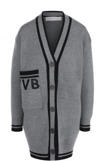 Удлиненный шерстяной кардиган свободного кроя Victoria by Victoria Beckham