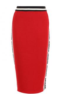 Вязаная юбка-миди с контрастными лампасами MSGM