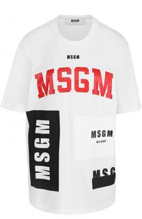 Хлопковая футболка свободного кроя с принтом MSGM